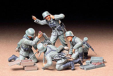 Tamiya German Infantry Mortar Soldier Team Set -- Plastic Model Military Figure Kit -- 1/35 Scale -- #35193