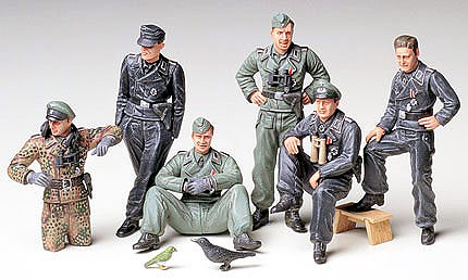 Tamiya German Tank Crew Soldiers At Rest -- Plastic Model Military Figure Kit -- 1/35 Scale -- #35201