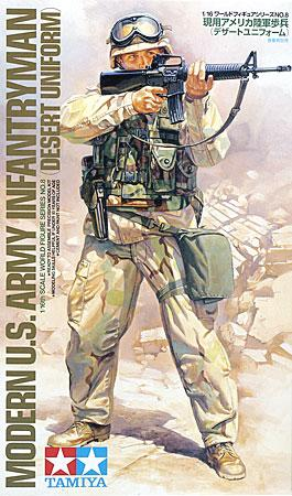 Tamiya U.S. Army Modern Infantryman Soldier -- Plastic Model Military Figure Kit -- 1/16 Scale -- #36308
