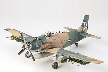 Tamiya Douglas A-1J Skyraider USAF Attack Aircraft -- Plastic Model Airplane Kit -- 1/48 Scale -- #61073