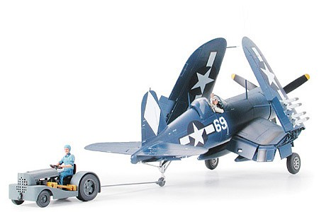 Tamiya Vought F4U-1D Corsair w/Moto Tug Fighter Plane Plastic Model Airplane Kit 1/48 Scale #61085