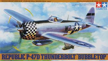 Tamiya P-47D Bubbletop Fighter Aircraft WWII Plastic Model Airplane Kit 1/48 Scale #61090