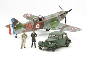 Tamiya Dewoitine D.520 French Aces w/Staff Car Plastic Model Airplane Kit 1/48 Scale #61109