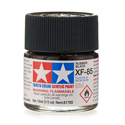 Tamiya Acrylic Mini XF85 Rubber Black 10ml Bottle Hobby and Model Acrylic Paint #81785