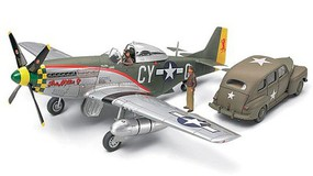 Tamiya P51D Mustang Fighter Aircraft & Staff Car Plastic Model Airplane Kit 1/48 Scale #89732