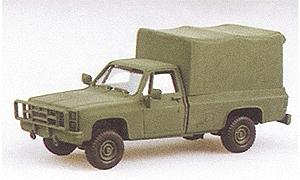 Trident Miniatures Light Trucks M1008 Cargo Carrier w/Canvas Cover Green -- HO Scale Model Roadway Vehicle -- #90005