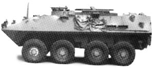 Trident Miniatures LAV M Armored Mortar Carrier Green -- HO Scale Model Roadway Vehicle -- #90012