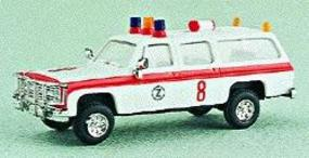 Trident Suburban Airport Fire Dept. Ambulance White & Red Stripe HO Scale Model Roadway Vehicle #90060