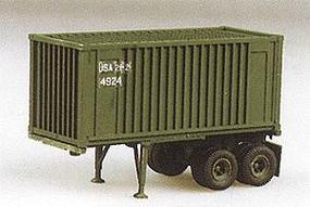Trident 2-Axle 20 Chassis w/Box Container Green HO Scale Model Railroad Vehicle #90079