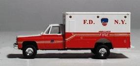 Trident Chevrolet Ambulance (FDNY) Ambulance Red & White HO Scale Model Railroad Vehicle #90140