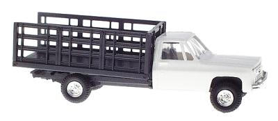 Trident Miniatures Chevrolet Pickup w/Stakebed Body White -- HO Scale Model Railroad Vehicle -- #901531