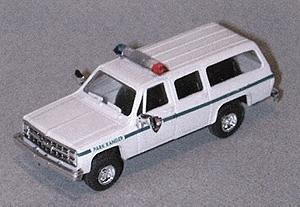 Trident Miniatures Chevy Suburban Park Ranger White & Green Stripe -- HO Scale Model Railroad Vehicle -- #90199