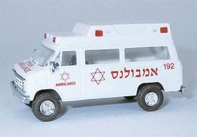 Chevrolet Van (Plastic) Israeli Ambulance White & Red HO Scale Model Railroad Vehicle #90223