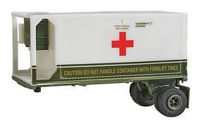 Trident Medical Corps Refrigerated Container Single Axle Chassis HO Scale Model Roadway Vehicle #90362