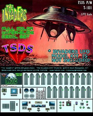 TSDS The Invaders UFO Decal Set -- Science Fiction Plastic Model Decal -- 1/72 Scale -- #101