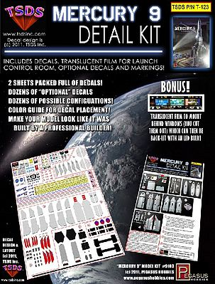 TSDS Mercury 9 Rocket Ship Decal Set for PGH -- Science Fiction Model Decal -- 1/350 Scale -- #123