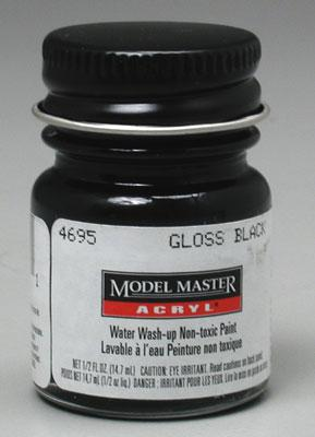 Testors Model Master Gloss Black FS17038 1/2 oz -- Hobby and Model Acrylic Paint -- #4695