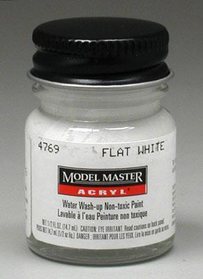 Testors Model Master Flat White FS37875 1/2 oz -- Hobby and Model Acrylic Paint -- #4769