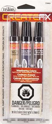 Testors Create FX Enamel Paint Marker Set (Concrete, Black, Roof Brown) -- Hobby Paint Marker -- #73802