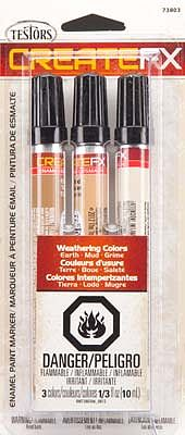 Testors Create FX Enamel Paint Marker Set (Earth, Mud, Grime) -- Hobby Paint Marker -- #73803