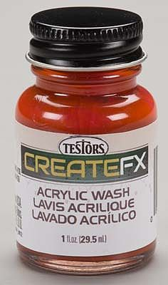 Testors FX Acrylic Wash Teak 1 oz -- Hobby and Model Acrylic Paint -- #79400