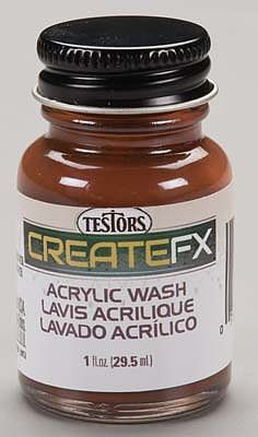 Testors FX Acrylic Wash Walnut 1 oz -- Hobby and Model Acrylic Paint -- #79401