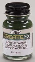 Testors FX Acrylic Wash Olive Green 1 oz Hobby and Model Acrylic Paint #79407