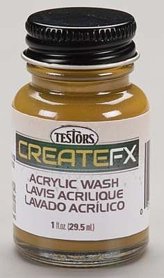 Testors FX Acrylic Wash Oak 1 oz -- Hobby and Model Acrylic Paint -- #79409