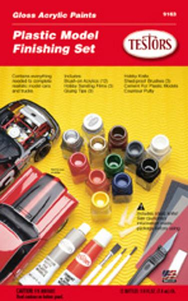 Testors Gloss Acrylic Paint Finishing Kit Hobby and Model Paint Set #9163