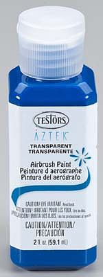 Testors Aztek Airbrushable Transprnt Royal Blue Acryl 2 oz Hobby and Model Acrylic Paint #9486