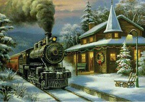 Train-Enthusiast Train at Stn Xmas Cards