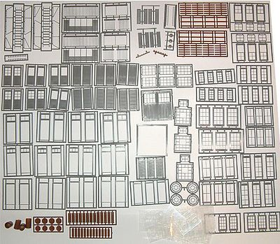 Tichy Train Group Wind/Door/Part Assortment -- O Scale Model Railroad Building Accessory -- #2050