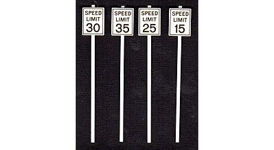 Tichy Train Group Low Speed Limit Signs (8) -- O Scale Model Railroad Roadway Signs -- #2064