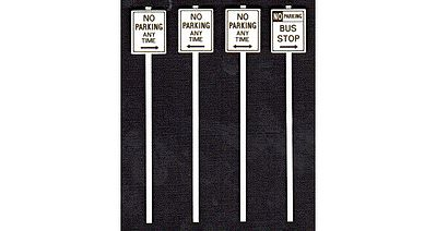 Tichy Train Group No Parking Signs (8) -- O Scale Model Railroad Roadway Signs -- #2066