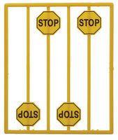 Tichy-Train Yellow Stop Sign (8) O Scale Model Railroad Roadway Signs #2071