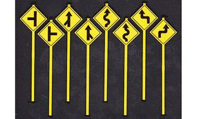 Tichy-Train Road Path Warning Signs 2 (8) O Scale Model Railroad Roadway Signs #2073