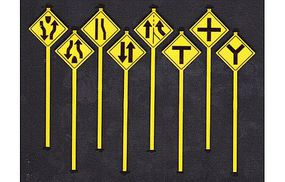Tichy-Train Road Path Warning Signs 3 (8) O Scale Model Railroad Roadway Signs #2074