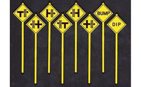 Tichy-Train Misc Warning Signs (8) O Scale Model Railroad Roadway Signs #2075