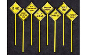 Tichy-Train Written Warning Signs (8) O Scale Model Railroad Roadway Signs #2077