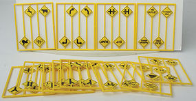 Tichy-Train Assorted Roadway Warning Signs (48) O Scale Model Railroad Trackside Accessory #2078