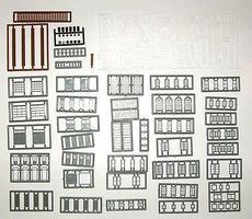 Tichy-Train Windows, Doors & Parts Assortment (164) N Scale Model Railroad Building Accessory #2540
