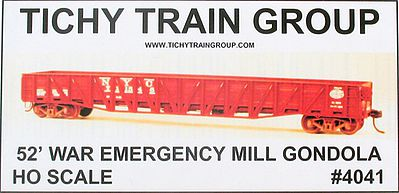 Tichy Train Group 52' War Emergency Gondola -- HO Scale Model Train Freight Car -- #4041d