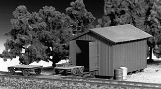 Tichy Train Group Handcar Shed w/Handcar & Trailer Kit -- HO Scale Model Railroad Building -- #7011