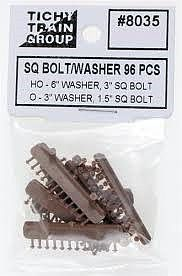 Tichy Train Group Square Bolt/Washer 3'' Bolt, 6'' Washer (96) -- HO Scale Model Railroad Building Accessory -- #8035