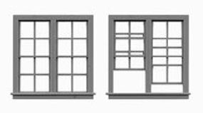 Tichy-Train 4/4 Double Hung 2-Unit Window (6) HO Scale Model Railroad Building Accessory #8070