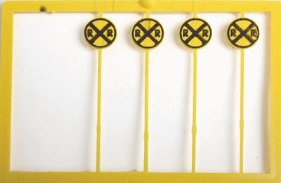 Tichy Train Group Railroad Crossing Warning Signs #1 (20) -- HO Scale Model Railroad Trackside Accessory -- #8176