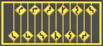 Tichy Train Group Left & Right Road Path Warning Signs (12) -- HO Scale Model Railroad Road Accessory -- #8254