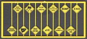 Tichy-Train Written Warning Signs (12) HO Scale Model Railroad Road Accessory #8256