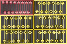 Tichy-Train Modern Road Sign Assortment (48) HO Scale Model Railroad Road Accessory #8257