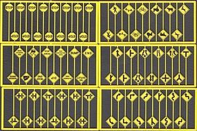 Tichy-Train Early Road Sign Assortment (48) HO Scale Model Railroad Road Accessory #8258